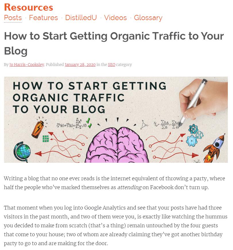 Organic traffic blog post